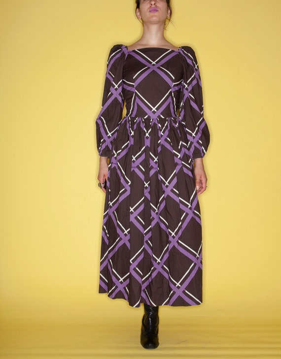 Vintage 60s MARIMEKKO Brown & Purple Window-Pane P