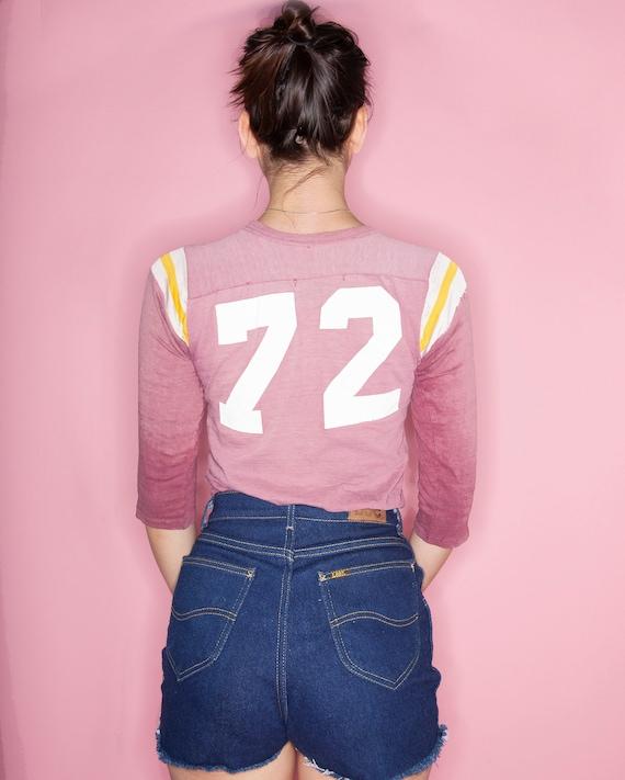 Vintage 70s Number 72 Cotton Football Jersey, Vin… - image 3