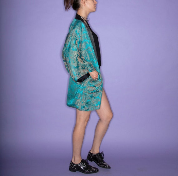 Vintage 60s Chinese Turquoise Brocade / Jacquard R