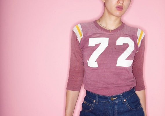 Vintage 70s Number 72 Cotton Football Jersey, Vint