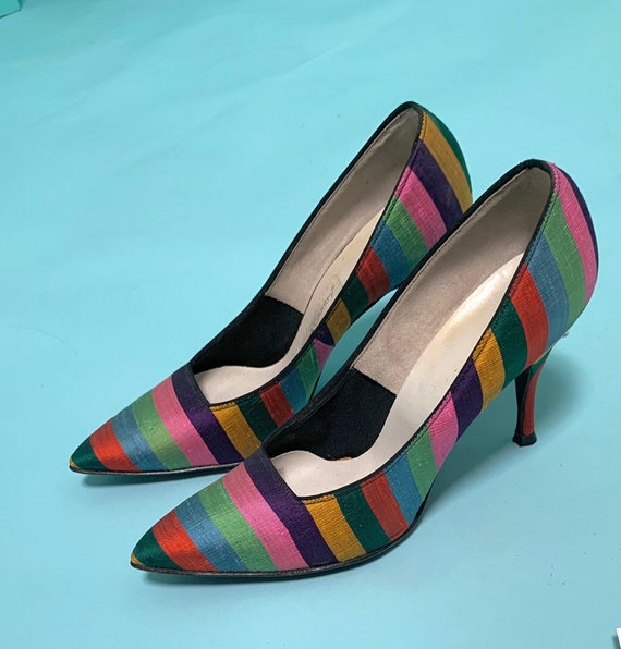 Vintage 50s Rainbow Striped Raw Silk Stiletto Pump