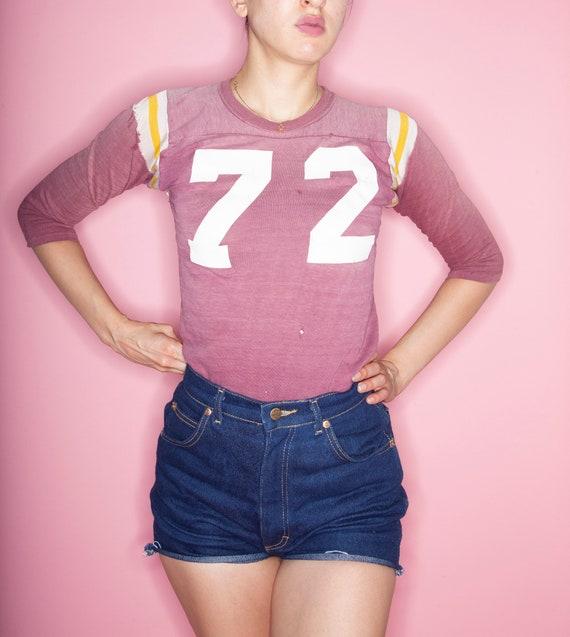 Vintage 70s Number 72 Cotton Football Jersey, Vin… - image 4