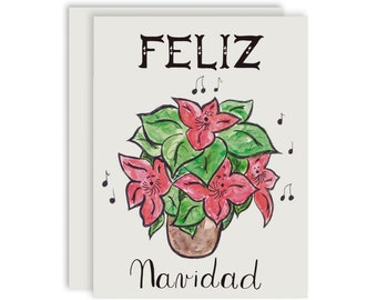 Singing Poinsettias Christmas Card, Feliz Navidad Card, Merry Christmas Card, Watercolor Poinsettia Card, Greeting Card Set, Pack of cards