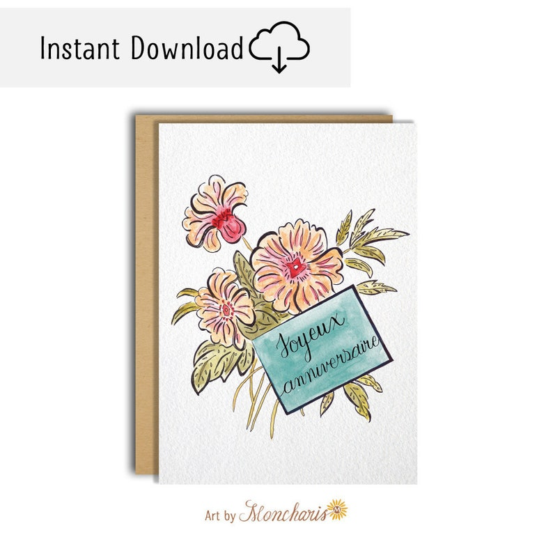 Flower Bouquet Birthday Card Joyeux Anniversaire Card Flower Bouquet Printable Card Cards For Her Vintage Cards Retro Cards For Her
