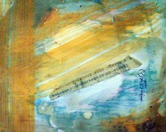"Original encaustic painting, Language, 8"" x 8"""