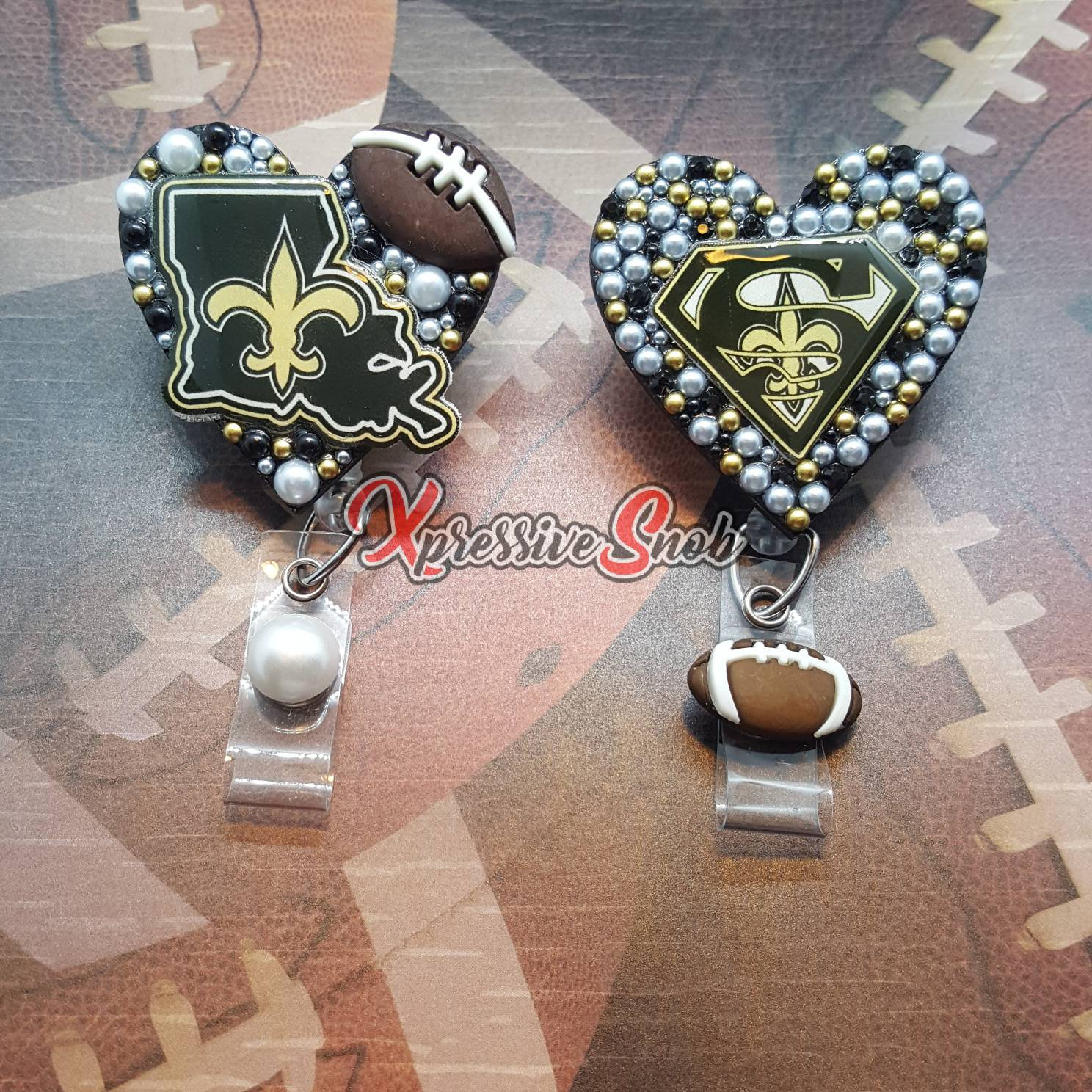 New orleans Saints work Retractable Reel ID Badge Holder football  cna lpn Rn