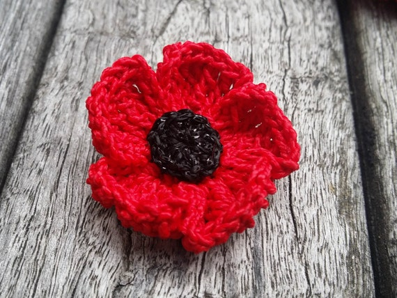 Red lapel flower anzac poppy brooch red poppy brooch etsy image 0 mightylinksfo