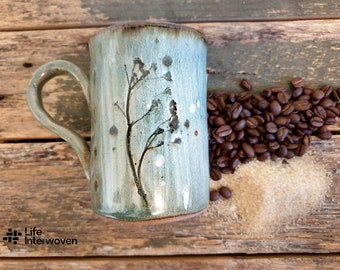 Discount Wonky ceramic coffee mugs handmade with handmade mulberry paper packaging - Botanical floral tea cups - Natural Glazed Pottery Mug