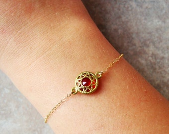 Dragon's blood bracelet, medieval bracelet, red bracelet, ruby bracelet, minimalist bracelet, dainty bracelet ,modern bracelet, cute jewelry