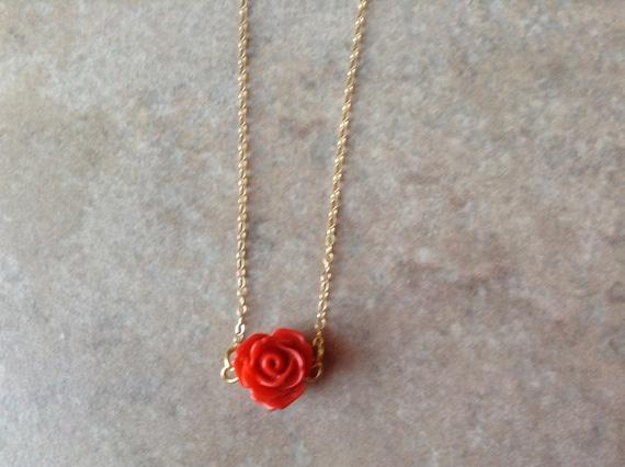 Collier Rose Fleur Collier Collier Rose De Corail Rouge Etsy