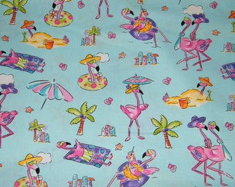 32.5 Inches FLAMINGO BEACH on Blue Print Fabric 100% Cotton Quilt Crafting  Fabric by the PIECE ab1bf2571291
