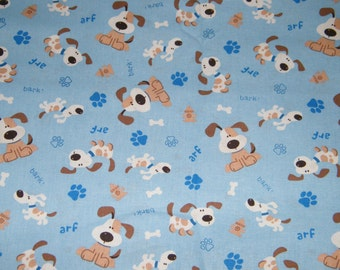 BTY BARKING DOGS on Blue Print 100% Cotton Quilt Craft Fabric by the Yard