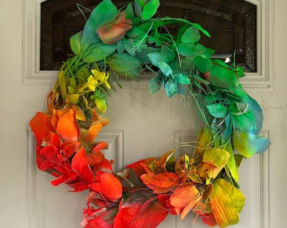 Rainbow Floral Wreath