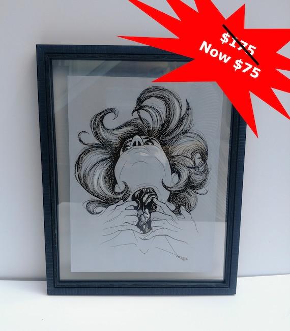 Heart in Throat Original Framed Art Piece
