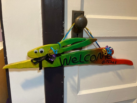 """Hand painted Fluorescent """"Welcome B****es"""" Bunny Sign"""