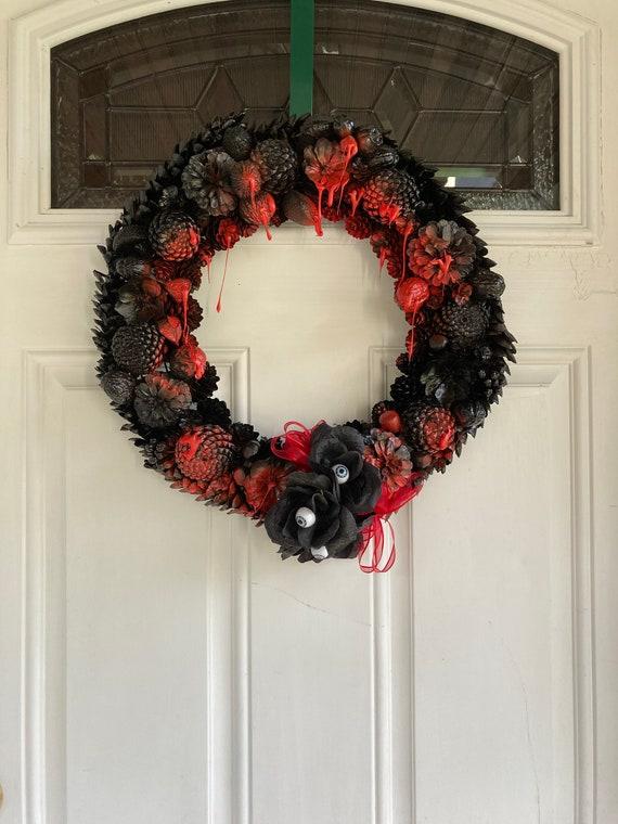 Halloween Bloody Pinecone Wreath