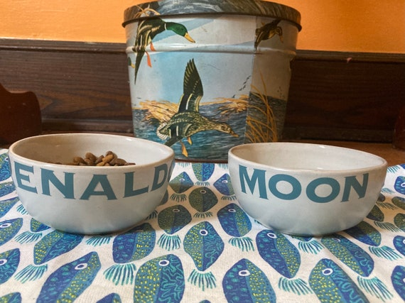 Custom pet name tiny water and food dishes