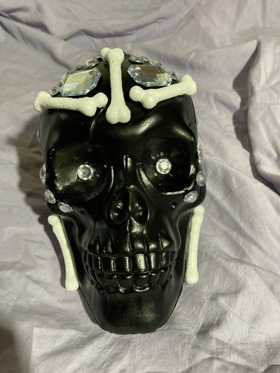 Bedazzled Plastic Skull Decoration