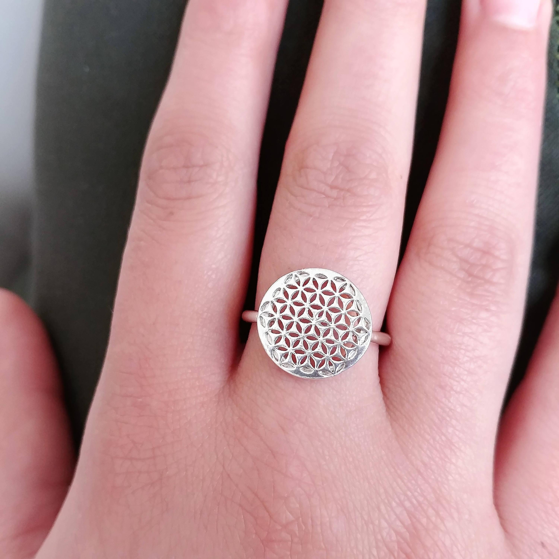 Flower of Life Ring Sacred Geometry Ring Tribal Ring Sacred | Etsy