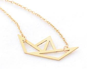 Gold origami pendant