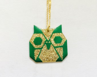 Origami green/brown/turquoise & gold/silver OWL pendant