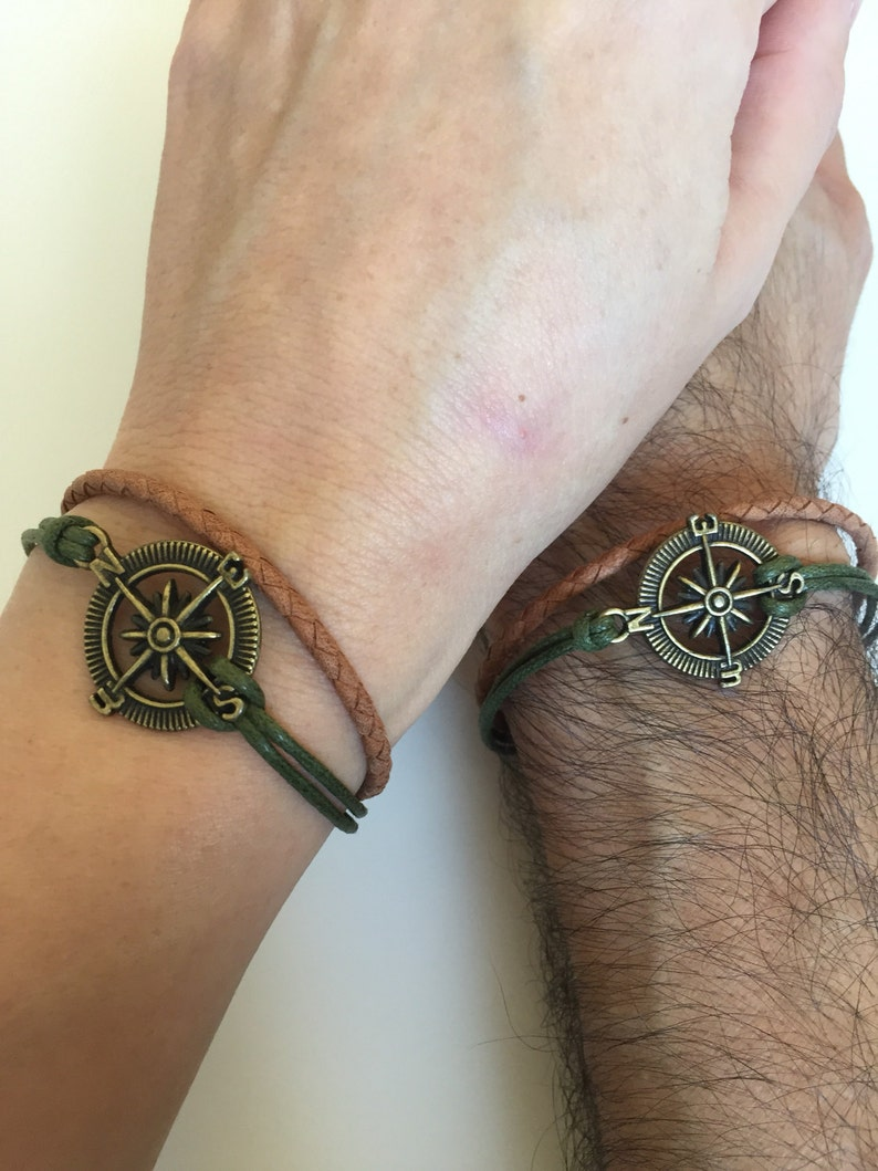 4a21f954e2ed Parejas pulseras 315 amistad amor brazalete bronce brújula