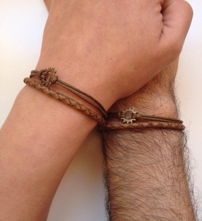 Couples Bracelets 184 friendship love cuff steampunk bronze image 0