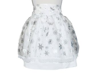 Women/'s Aprons Special Occasion Women/'s Size 8-14 Winter Pine Cone Sparkle Half Apron Delantal Snowy Tree Party Apron Holiday Apron
