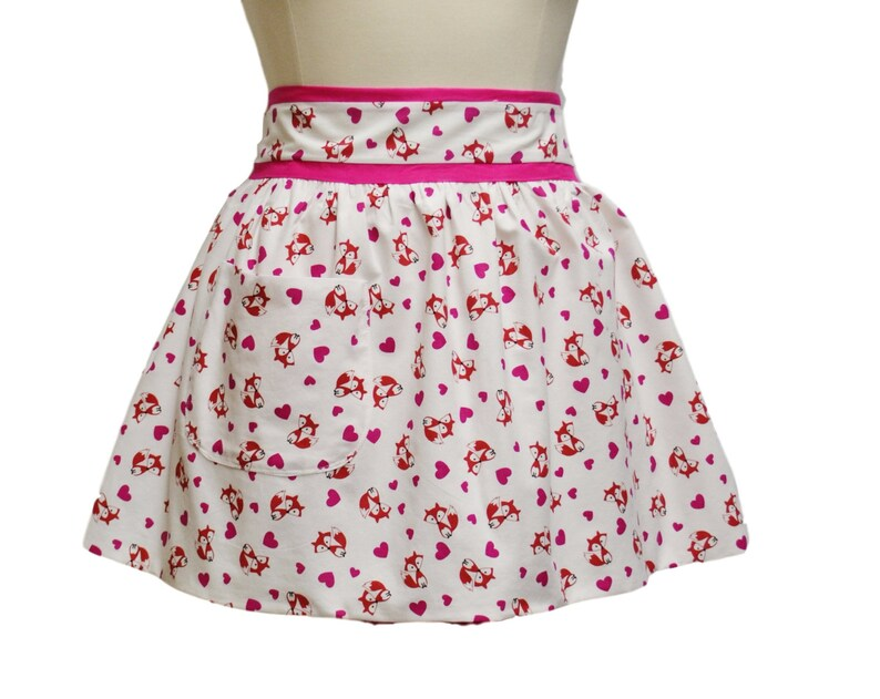 Plus Size Little Foxes and Hearts Valentine Half Apron, Pink and Purple,  Plus Size Clothing, Party Apron, Delantal, Gift for Women