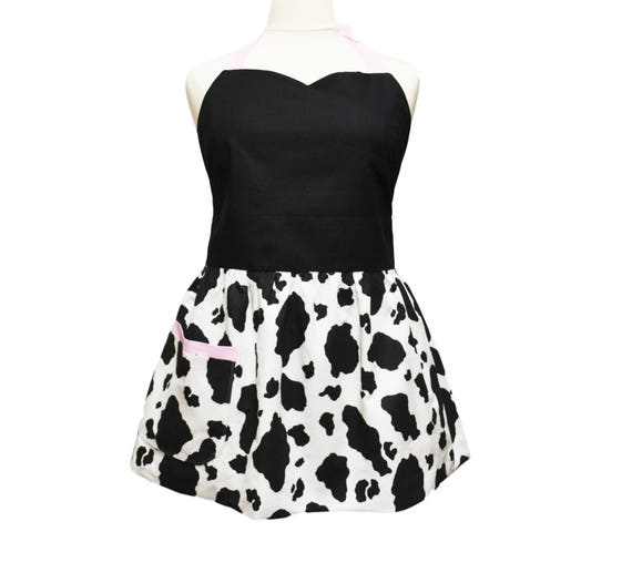 dd40b4579e84d Petite Plus Size Black and White Holstein Print Apron with