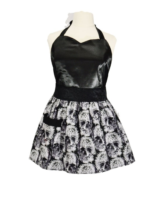 c7c12e14752 Plus Size Glitter Skulls and Pins Apron with Satin and Velvet