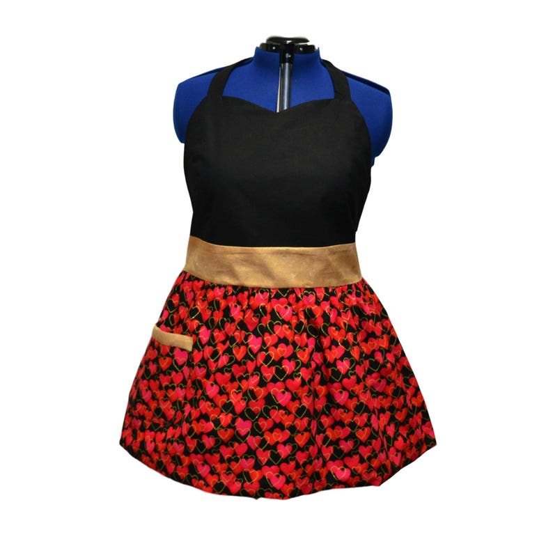 Plus Size Clothing Plus Size Hearts of Gold Apron trimmed with Gold Jacquard Pink and Red Hearts and Black Bodice and Lining Delantal