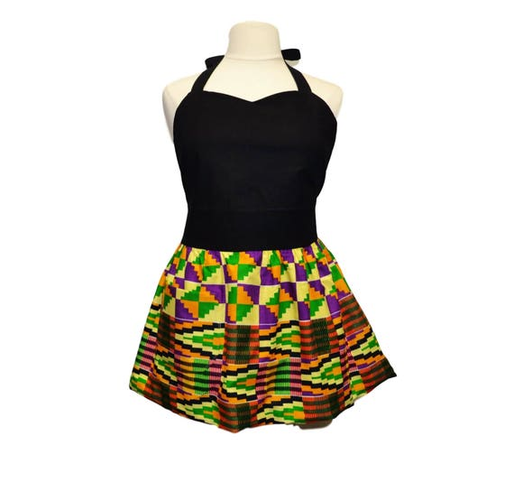 5c6b9079cf23c Petite Plus Kente Border Print Apron Nwentom Ashanti Purple