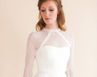 1475cc666d FOX TOP polka dot top. bridal top. bridal topper. lace topper. bridal cover  up. long sleeve wedding dress.