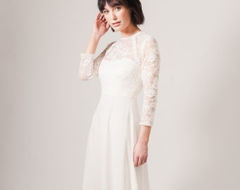 d111c9c4441ce RIVER wedding dress with sleeves. lace wedding dress. classic wedding.  vintage inspired wedding dress.