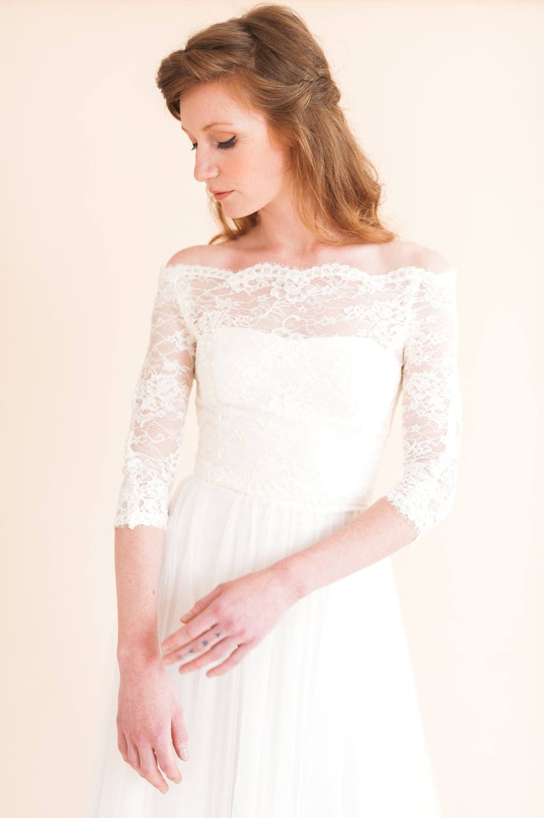 Esme Top Lace Topper Lace Cover Up Lace Top Bridal Top Bridal Separates Classic Wedding Dresswedding Dress Bridal Top
