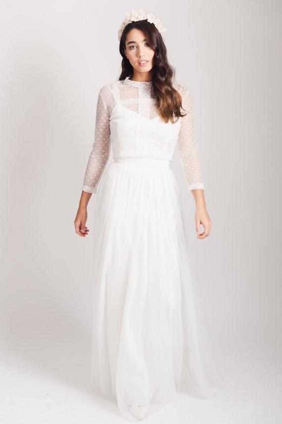 Clara Top Polka Dot Wedding Dress Lace Top Bridal Separates Etsy