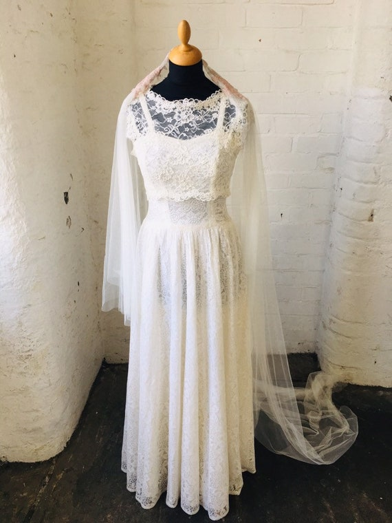 VINTAGE DRESS vintage wedding dress, lace dress, v