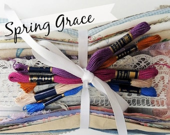 Fabric Grab Bag VINTAGE Mix: Sewing Gift Boro Mending DIY Patches Scrap Textile Bundle Thread Set Art Dolls Crazy Quilt Collage Craft Pack