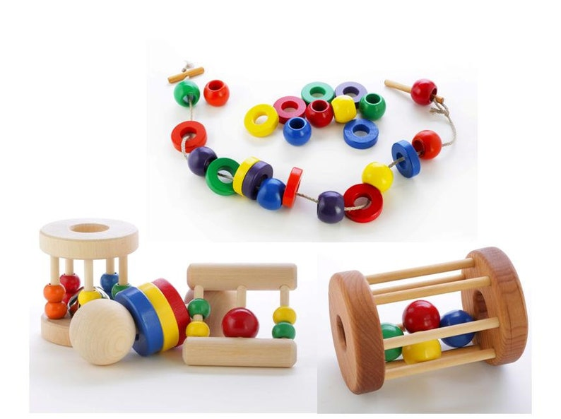 Bright Wooden Roller Baby Toy With Ball Inside Non Toxic Tooky Rattle