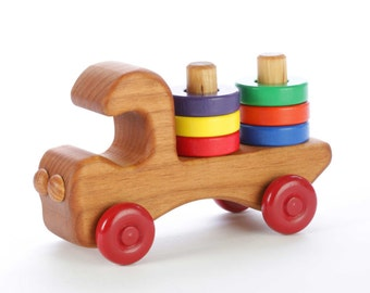 Wooden Toy Truck - Stacking Toy - Toddler Toy - Wooden Push Toy