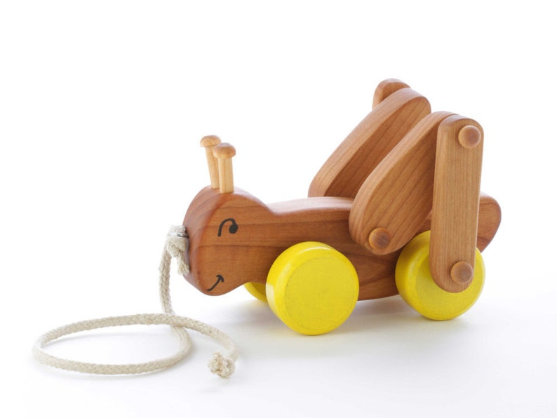Wooden Grasshopper Pull Toy  Toddler Gift image 0