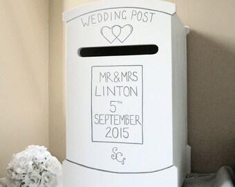 Personalised Wedding Post Box / Hand-made Wedding Card Box /Wedding Letter Box