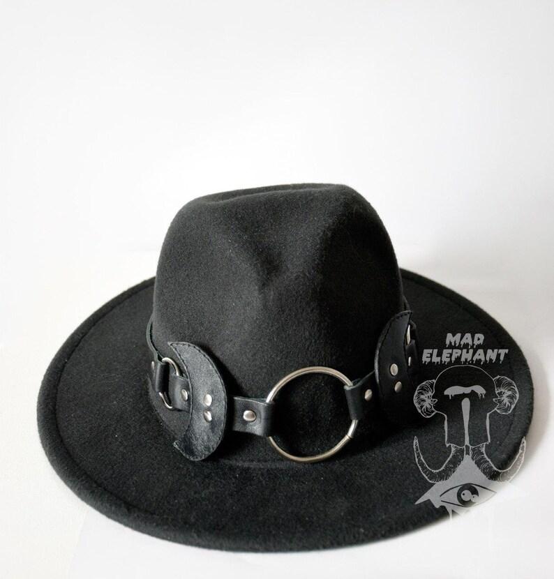 bc3877e41f539e Black felt hat fedora with leather hatband gothic hat unisex | Etsy
