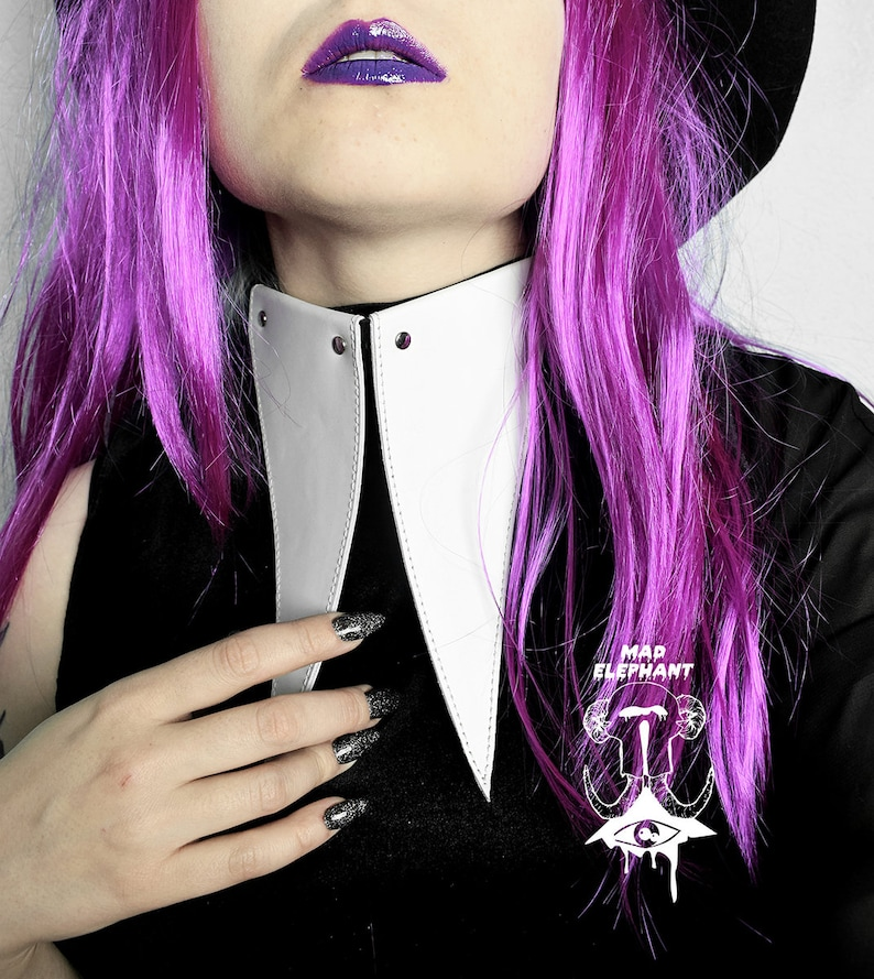 Black or white leather choker with buckle pastel goth accessory
