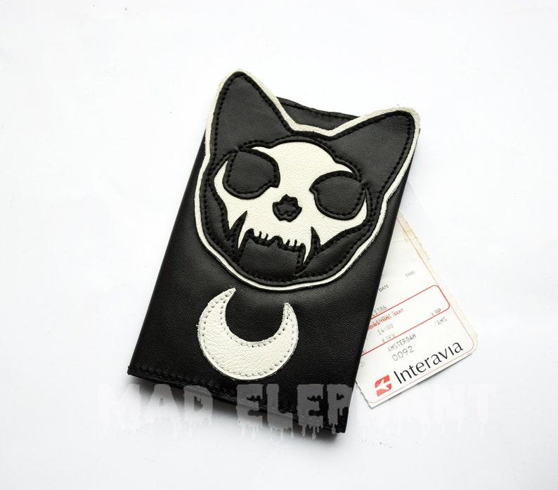 Dead cat face pouch wallet money coin purse document cover case