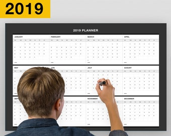 Erasable Annual Wall Calendar Planner From January Till December 2019, Yearly Planning / 18-Inch-by -27-Inch