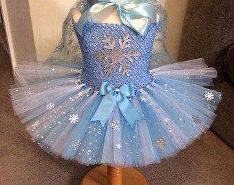Custom Made Snowflake Frozen Inspired Tutu with Cape