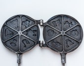 Waffle iron Baking supply Waffle maker Cookie cutter Cast iron waffle Bakeware Cookie pan Kitchenware Retro kitchen