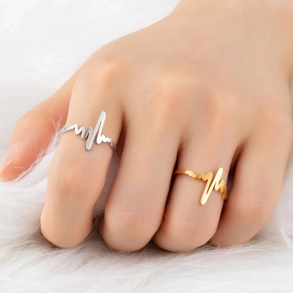Sterling Silver Heartbeat Ring Small